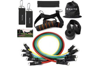 Walito Resistance Bands Set, Including 5 Stackable Exercise Bands with Door Anchor, Ankle Straps, Carrying Case & Guide Ebook (Set 13)