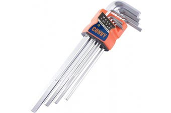 (Extra Long) - Convy GJ-0047 Arm Hex Key Wrench Set Chrome Vanadium, Metric, set of 9 pieces,Extra Long
