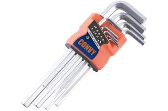 (Long) - Convy GJ-0048 Arm Hex Key Wrench Set Chrome Vanadium, Metric, set of 9 pieces, Long