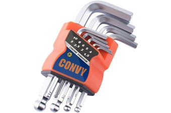 (Standard) - Convy GJ-0052 Allen Wrench Set, Hex Key Set with Arm Ball End, Metric, Set of 9 pieces, Standard