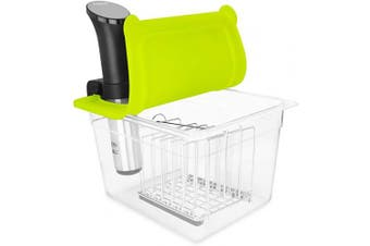 (Container with lid and rack and sleeve) - EVERIE Universal Sous Vide Container with Lid (Container with lid and rack and sleeve)