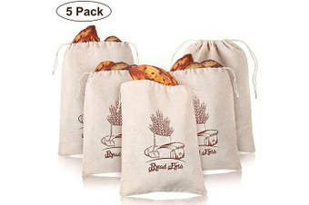 (30cm  x 41cm ) - 5 Pieces Linen Bread Bags Natural Produce Bags Reusable Drawstring Bags for Homemade Bread Food Storage Large Loaf and Baguette (30cm x 41cm )