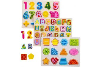 (SET) - Wooden Puzzles for Toddlers , Alphabet ABC Puzzles ,Numbers Puzzle Board and Preschool Educational Learning Board Toys for 2-5 Years Old Kids Toddlers(3 Pair) (Set)