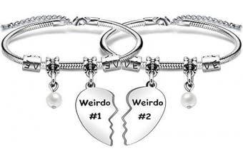 (pearl) - Weirdo Gift,2Pcs Weirdo #1 Weirdo #2 Heart Pendant Bracelet For Best Friends Birthday Christmas Gift