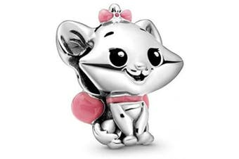 (The Aristocats Marie Charm) - 2020 Cartoon Animal Charm Bead Collection - Authentic S925 Sterling Silver Charms for Bracelets and Gift Pouch