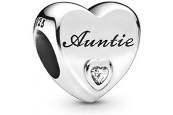 (Auntie) - Love Heart Charm Collection Beads - Authenic S925 Sterling Silver Love Heart Family Collection with Cubic Zirconia Charms & Gift Pouch