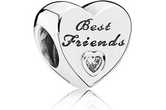 (Best friends) - Love Heart Charm Collection Beads - Authenic S925 Sterling Silver Love Heart Family Collection with Cubic Zirconia Charms & Gift Pouch