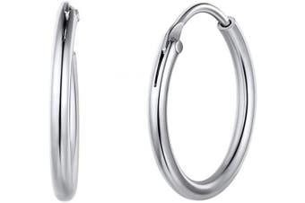 (01-silver 15mm Earrings) - Small/Large Hoop Earrings for Women 15/20/30/50/70mm Round Circle Earrings 925 Sterling Silver/18K Gold Plated Jewellery