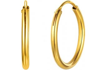 (05-gold 20mm Earrings) - Small/Large Hoop Earrings for Women 15/20/30/50/70mm Round Circle Earrings 925 Sterling Silver/18K Gold Plated Jewellery