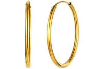 (07-gold 30mm Earrings) - Small/Large Hoop Earrings for Women 15/20/30/50/70mm Round Circle Earrings 925 Sterling Silver/18K Gold Plated Jewellery