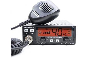 CB radio, CB radios President Barry ASC AM/FM 12V/24V ASQ code TXPE002,Black,5631