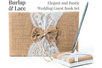 (Burlap Bow) - Rustic Wedding Guest Book Made of Burlap and Lace - Includes Matching Pen Holder and Silver Pen - 120 Lined Pages for Guest Thoughts - Comes in Gift Box (Burlap Bow with Pearl Centre)