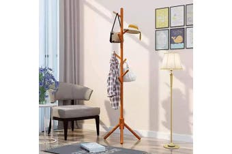 Wooden Coat Rack Stand with 8 Hooks, Hall Tree Entryway Standing Hat Hanger Coat Rack, Tray Coat Tree Hallway Clothes Rack, Entryway Coat Hanger Stand for Clothes, Suits, Scarves, Handbags, Umbrella