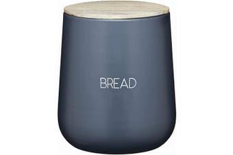 KitchenCraft Serenity Bread Bin with Airtight Lid, Iron/Mango Wood, Grey/Brown, 21.5 x 24.5 cm