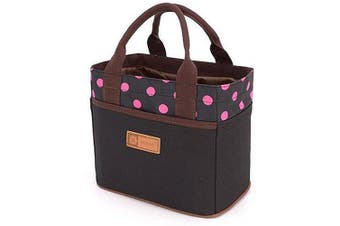 Canvas Bento Lunch Bag for Picnic School Office Tote Lunch Bag with Rope Belt Stylish (Black & Rose Dot)