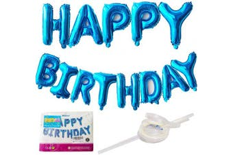 41cm Happy Birthday Balloon Banner - Self Inflating Happy Birthday Banners Balloons Blue Happy Birthday Bunting Banner Hanging Foil Baloon for Birthday Party Decorations with a Straw and Ribbon