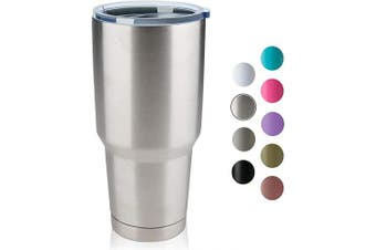 (1, Silver) - COMOOO 890ml Double Wall Vacuum Insulated Travel Mug - Stainless Steel Tumbler with Lid Coffee Cup for Cold & Hot Drinks (Silver, 1)