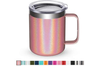 (1 Pack, Pink Shimmer) - Civago Stainless Steel Coffee Mug Cup with Handle, 350ml Double Wall Vacuum Insulated Tumbler with Lid Travel Friendly (Pink Shimmer, 1 Pack)