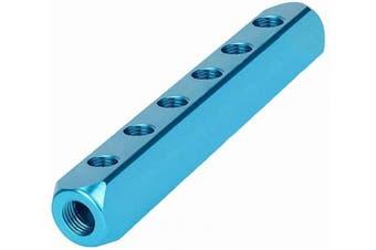 "(1, 6 Way 9 Ports) - Beduan 1/4"" NPT 6 Way 9 Port Aluminium Air Hose Inline Manifold Block Splitter, Pneumatic Air Compressor Manifold Fitting"