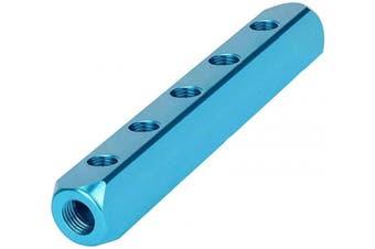 "(1, 5 Way 8 Ports) - Beduan 1/4"" NPT 5 Way 8 Port Aluminium Air Hose Inline Manifold Block Splitter, Pneumatic Air Compressor Manifold Fitting"