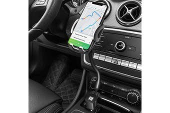 (Black) - 3-in-1 Car Mount, Amoner Cigarette Lighter Cell Phone Holder with Dual Port USB Charger, Adjust Gooseneck and 360° Rotation Compatible iPhone 11 X 8, Galaxy S9 S8, Mate20 P30, GPS and More