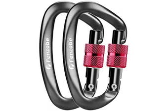(2 Locking Greyred) - Fenzobe Carabiner 12KN 1200Kg Locking Carabiners Clip Hook Heavy Duty Aluminium Alloy Lightweight D-Ring Wiregate/Screwgate 2Pcs/4Pcs for Keyring, Outdoor Hammock, Travelling, Camping, Hiking, Fishing