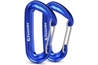 (2 A Wiregate Deepblue) - Fenzobe Carabiner 12KN 1200Kg Locking Carabiners Clip Hook Heavy Duty Aluminium Alloy Lightweight D-Ring Wiregate/Screwgate 2Pcs/4Pcs for Keyring, Outdoor Hammock, Travelling, Camping, Hiking, Fishing