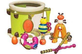 (Kids Drums) - B. Toys – Parum Pum – Toy Drum Kit with 7 Musical Instruments for Kids . (7-pcs) ,Multi-colour,BX1883C1Z