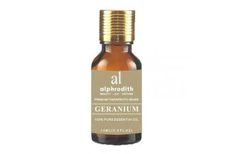 (Geranium, 10ml) - Premium Aromatherapy Geranium Essential Oil 100% Organic Pure Undiluted Therapeutic Grade Scented Oils - 10ml for Diffuser, Relaxation, Skin Therapy, Spa & Home