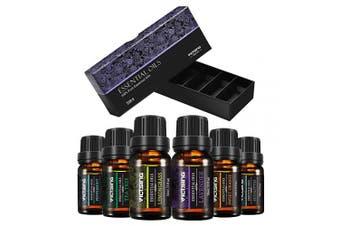 (Black) - VicTsing Essential Oils, TOP 6 Pure Aromatherapy Oils Set, Essential Fragrance Oil Set for Women, Men, Diffuser, Humidifier(Orange, Lavender, Tea Tree, Lemongrass, Eucalyptus, Peppermint, 10ml/bottle)