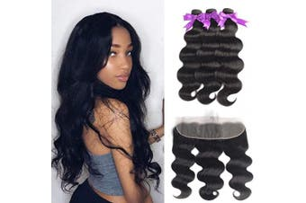 (14/16/18+36cm , Bundles with Frontal) - Beaudiva Hair Body Wave Bundles with Frontal (14 16 18+14Frontal) 13×4 Lace Frontal Unprocessed 8A Brazilian Body Wave Human Hair Double Weft with Lace Frontal