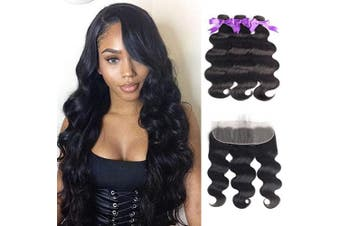 (20/22/24+46cm , Bundles with Frontal) - Beaudiva Hair Body Wave Bundles with Frontal (20 22 24+18Frontal) 13×4 Lace Frontal Unprocessed 8A Brazilian Body Wave Human Hair Double Weft with Lace Frontal…