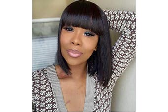 (Natural Black) - Annivia Natural Black Straight Wigs Short Black Bob with Bangs for Women Heat Resist Synthetic Human Hair Replacement Wig