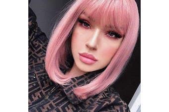 (Pastel Pink) - Annivia Pastel Pink Bob Short Wig for Women 30cm Heat Resistant Synthetic Straight Wigs with Bangs Halloween Cosplay Party Wig Natural As Real Hair (Pastel Pink)