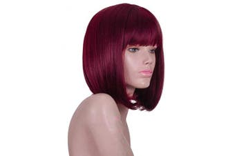 (red) - Dark Wine Red Short Bob Wig with Bangs for Black White Women Red Wigs (99j)