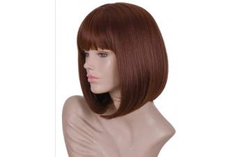 (brown) - Annivia Brown Short Bob Wig for Women 30cm Heat Resistant Synthetic Straight Wigs with Bangs Halloween Cosplay Party Daily Use Wig Natural As Real Hair (Brown)