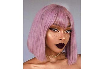 (purple pink) - Annivia Purple Pink Short Bob Wig with Bangs for Women 30cm Corlor Synthetic Straight Wigs with Bangs Halloween Cosplay Party Wig (Purple Pink)