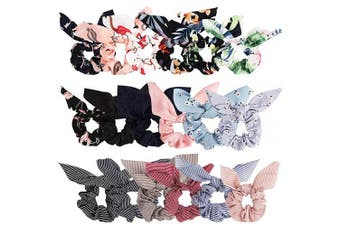 (Small) - Bow Scrunchies For Hair, 18 Pcs Chiffon Scrunchies Silk with Bow Scarf, Solid Stripe Flower Colour Bow Scrunchies Ponytail Holder, Hair Ties Ropes, Rabbit Bunny Ear BowKnot Scrunchies Hair Accessories