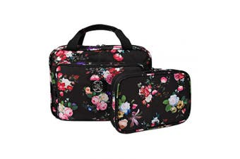 (black roses set x2) - Set Of Large Hanging Travel Toiletry And Cosmetic Bag For Women and Jewellery Travel Organiser Bag With Many Pockets Set in Black Roses