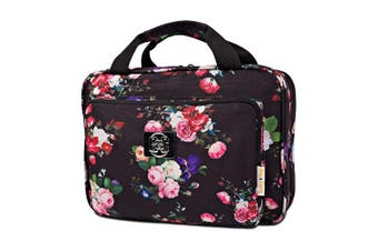(Black roses) - Large Hanging Travel Cosmetic Bag For Women - Versatile Toiletry And Cosmetic Makeup Organiser With Many Pockets (Black roses)