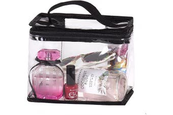 (Toiletry Bag) - Clear Travel Train Bag for Lunch Case Carry On or Cosmetics Makeup Toiletries with Top HandleLarge
