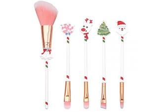 (Christmas-5) - Cute Fairy Makeup Brush Set - 5pcs Wand Makeup Brushes with Christmas Cartoon Handle for Blush, Foundation, Eyebrow, Eyeshadow, and Lips, Prefect Christmas Gift for Sister