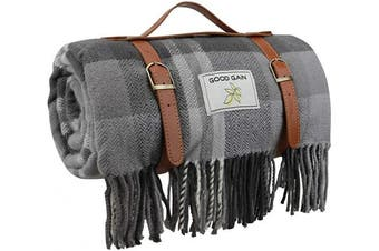 (Grey Check) - Good Gain Wool Picnic Blanket,Waterproof Backing with Handle, 150cm x 200cm Large Size for Outdoor Travel Hiking Picnic Mat Grey Cheque
