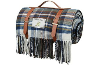 (Blue Check) - Good Gain Wool Picnic Blanket,Waterproof Backing with Handle, 150cm x 200cm Large Size for Outdoor Travel Hiking Picnic Mat Blue Cheque