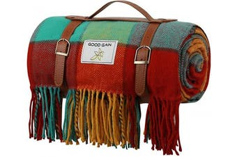 (Color Bar) - Good Gain Wool Picnic Blanket,Waterproof Backing with Handle, 150cm x 200cm Large Size for Outdoor Travel Hiking Picnic Mat Colour Bar