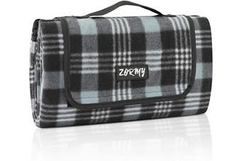 (Black) - ZORMY Extra Large Picnic Blanke Waterproof Beach Handy Mat Black and White Chequered Camping Mat for Outdoor Picnic, Beach, Camping, Camping on Grass and Portable
