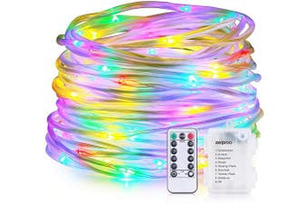 (Multicolor) - zerproc LED String Lights, 100 LED Rope Lights, Battery Operated 10m 8 Mode Fairy Lights with IR Remote Timer for Easter, Garden, Patio and Indoor Decor, Multi-Colour