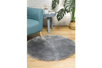 (3*0.9m Round, Grey) - CIICOOL Soft Faux Sheepskin Fur Area Rugs Fluffy Rugs for Bedroom Silky Fuzzy Carpet, Furry Rug for Living Room Girls Rooms, Grey Round 0.9m x 0.9m