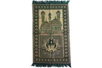 (Green_02) - HDI Muslim Prayer Mat Lightweight Thin Istanbul Turkey Sajadah Carpet Islam Eid Ramadan Gift (Green_02)