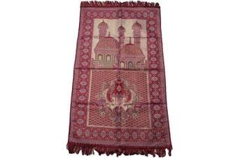 (Red_02) - HDI Muslim Prayer Mat Lightweight Thin Istanbul Turkey Sajadah Carpet Islam Eid Ramadan Gift (Red_02)